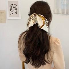 [2개세트][4color] H 스카프 패턴 골드 체인 리본 머리끈 세트
