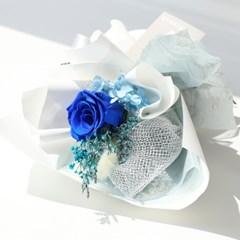 블루 장미 한송이 꽃다발
