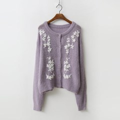 Mohair Wool Flower Cardigan