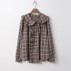 Frill Check Button Blouse