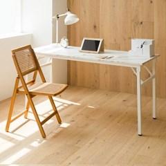 아넬 접이식 1500 화이트 스틸 책상 - 마블
