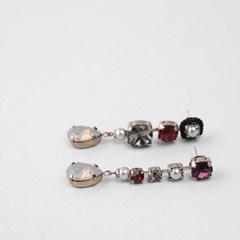 [쥬디앤폴] 비아 핸드메이드 언발 컬러 포인트 드롭 귀걸이 E51605