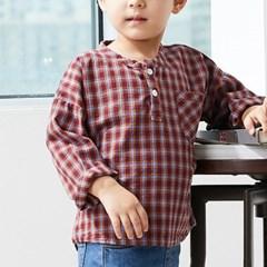 크) 리틀체크 헨리넥 아동 셔츠-주니어까지