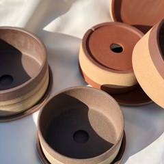 포트랜드 신상 세라믹 낮은 원형 투톤 화분 토분 2colors