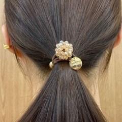 스톤 볼 플라워 꽃무늬 패션 링 헤어 고무줄 머리끈