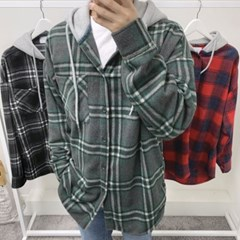 가을 남성 오버핏 캐쥬얼 면 포켓 후드 셔츠 남방