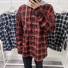 가을 남성 오버핏 캐쥬얼 면 체크 포켓 후드 셔츠 남방