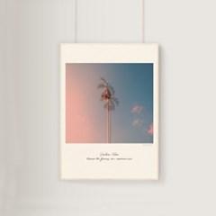 감성 모던아트 노을 야자수 풍경 여행 포스터 인테리어 액자 핑크