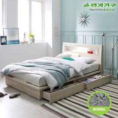 라자가구 오브 에단 LED 2서랍평상형 본넬양면 Q 침대 DM9052