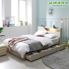 라자가구 오브 아바 LED 3서랍수납형 Q 침대프레임 DM9071