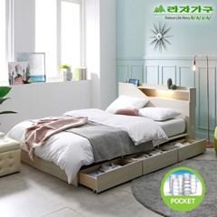 라자가구 오브 아바 LED 3서랍수납형 독립스프링 Q 침대 DM9073