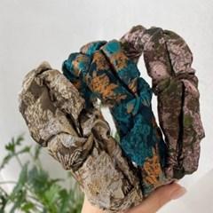 플라워 꽃무늬 자가드 패션 두꺼운 헤어밴드 머리띠