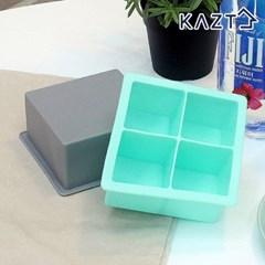 파스텔 실리콘 아이스큐브 원형 얼음틀 사각 4구 1+1