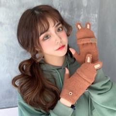 뽀시 여성 겨울 토끼 손가락 털장갑_(2483809)