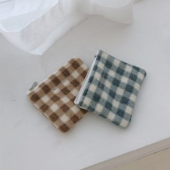 pastel blue check pouch