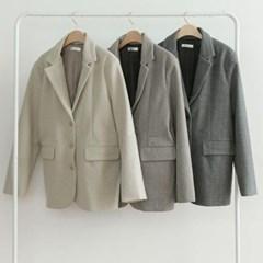 가을 루즈핏 헤링본 쓰리버튼 포켓 모직 롱자켓 코트