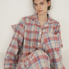 (w) Coral Plaid Pajama Set