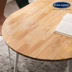 렌 고무나무 반타원형 원목 4인용 식탁 1600(의자미포함)