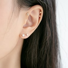 14k gold pearl ball piercing (14k 골드)