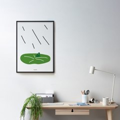 비오는 날 청개구리 M 유니크 인테리어 디자인 포스터 동물