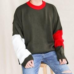 가을 남자 오버핏 빅사이즈 나그랑 박시 배색 두꺼운 니트스웨터