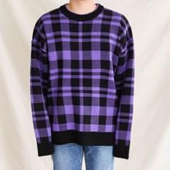 가을 남자 두꺼운 오버핏 타탄체크 빅사이즈 박시 니트 스웨터