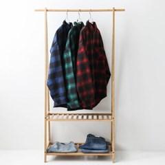 가을 남성 오버핏 모직 플란넬 두꺼운 타탄체크 포켓 셔츠 남방