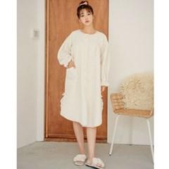 벌룬 양털 원피스 파자마 잠옷 (3컬러)