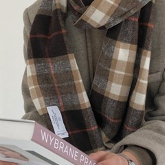 slowstitch brown winter check muffler