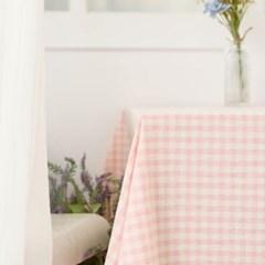 멜란체크 핑크 면식탁보 테이블보