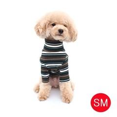 강아지 골지넥 스트라이프 티셔츠(카키 SM)
