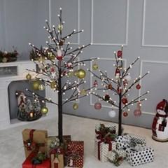 크리스마스트리 자작나무트리 LED 데코트리 브라운레드 1.2M 풀세트