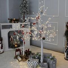 크리스마스트리 자작나무트리 LED 데코트리 화이트레드 1.6M 풀세트