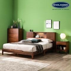 셀린 고무나무 원목 슬라이딩 LED 침대(DH 본넬서포트 매트-Q)
