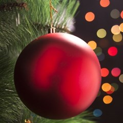 레드 무광볼 크리스마스 트리 장식 12cm