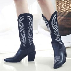 kami et muse Embroidery western long boots_KM20w118
