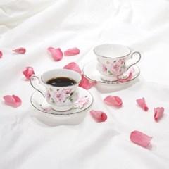 한국도자기 엘리제 핑크 커피잔 세트 2인 4p 컵앤소서