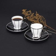 한국도자기 임페리얼 블랙 커피잔 세트 2인 4p 찻잔