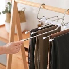 바지걸이 넥타이 벨트걸이 스카프걸이 공간활용 5단옷걸이 2개 1set