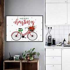 겨울 크리스마스 그림 패브릭 인테리어 포스터 액자_트리자전거