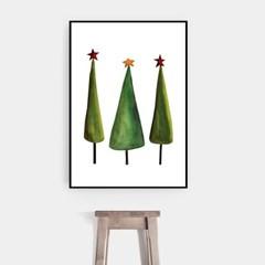 겨울 크리스마스 그림 패브릭 인테리어 포스터 액자_트리