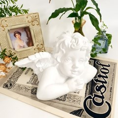 로코코 천사 조각상 화이트