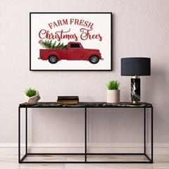 겨울 크리스마스 그림 패브릭 인테리어 포스터 액자_자동차