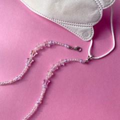 반짝반짝 작은별 비즈 미스크 스트랩 목걸이 - 클리어