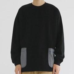 메쉬 포켓 맨투맨 티셔츠 라운드넥 오버핏 면 남자 긴팔