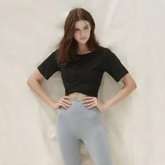 여성 요가복 DEVI-T0044-블랙 필라테스 백스트랩 티 반팔티 티셔츠