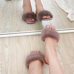 kami et muse Mink fur low heel slippers_KM20w124