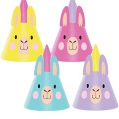 라마 파티 꼬깔모자 8개 CC Llama Party Party Hats