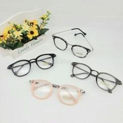 뿔테 가벼운 투명 도수없는 그레이 핑크 패션 안경