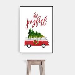 겨울 크리스마스 그림 패브릭 인테리어 포스터 액자_자동차트리